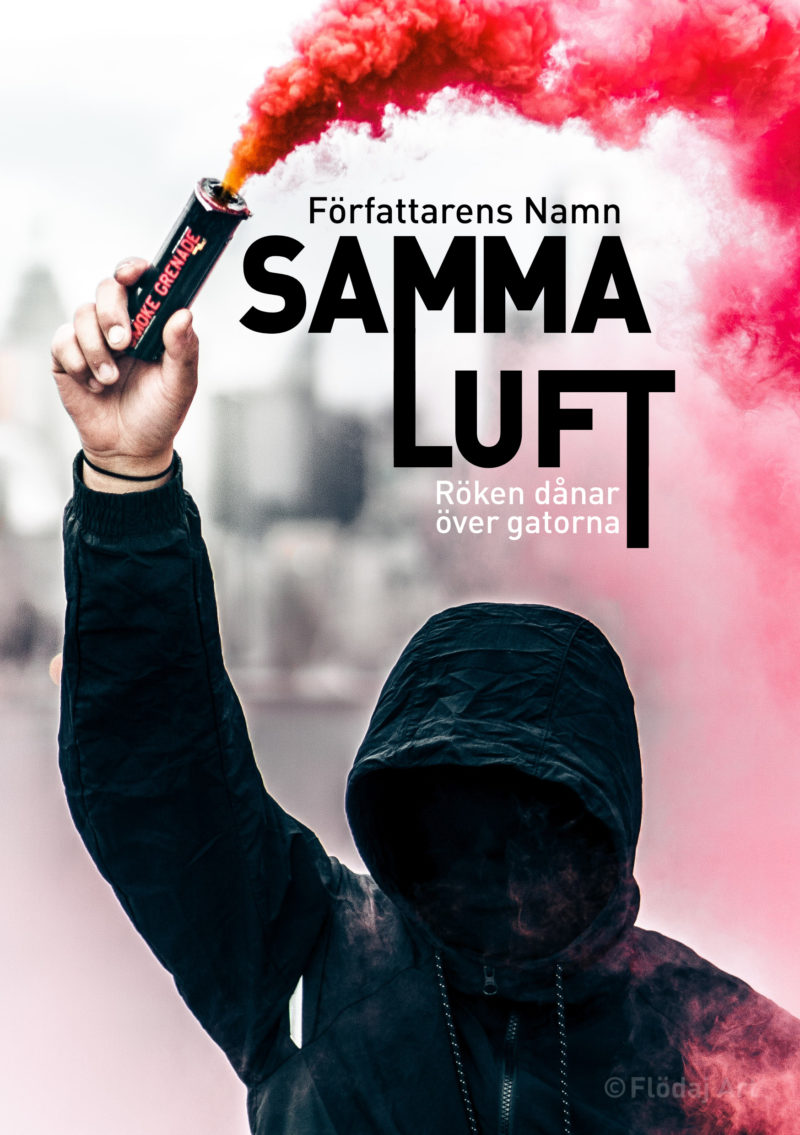 Bokomslag med titeln Samma luft. en svartklädd individ i stor huva som döljer ansiktet står nära kameran med en rökgranat, även kallad pyro, i handen, den sprider rödrosa rök över halva bilden.