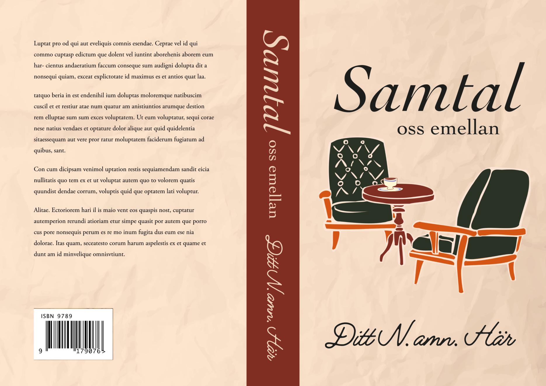 """Bokomslag med två vadderade stolar vända mot varandra, bakgrunden är veckat oblekt papper, Titeln är enkel kursiv, """"Samtal oss emellan"""""""