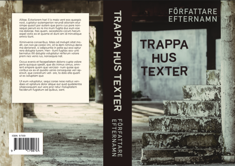 """Bokomslag för tryckt bok, närmast kameran är en nedsliten betongtrappa, i bakgrunden ett dammigt betonggolv som leder ut i ljus. Titeln är """"Trappa hus texter"""" och är skrivet i en litet skev font."""